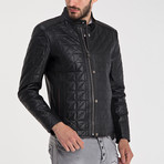 Quilted Button-Up Leather Jacket // Black (2XL)