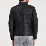 Quilted Button-Up Leather Jacket // Black (S)