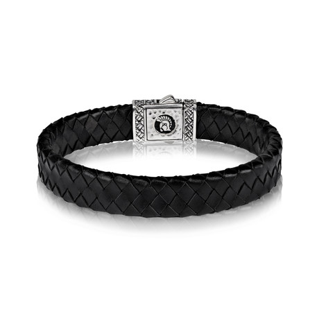 "Flat Black Leather Silver Clasp Bracelet // 12mm (Small // 7.5"")"