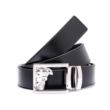 Smooth Leather Medusa Belt // Black (Black)
