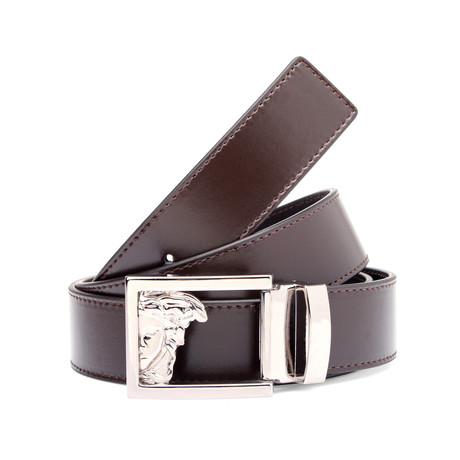 Smooth Leather Medusa Belt // Brown