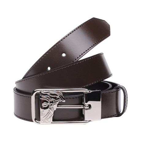 Versace Collection // Negative Space Medusa Buckle Belt // Brown