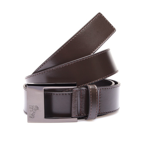 Flat Buckle Leather Belt // Brown