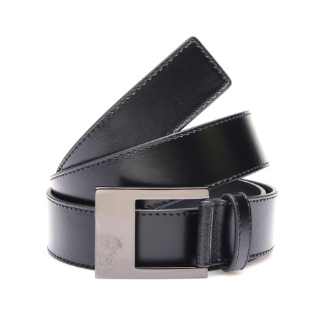 Flat Buckle Leather Belt // Black