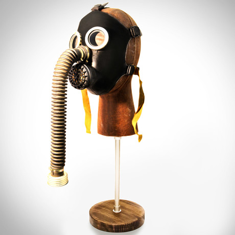 Soviet Russian Cold War Antique Gas Mask + Leather Head Stand (White)
