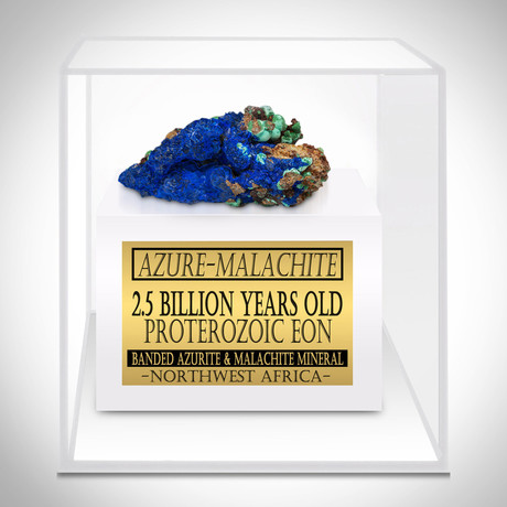 Azure-Malachite Authentic 2.5 Billions Old Banded Mineral // Museum Display (Mineral Only)