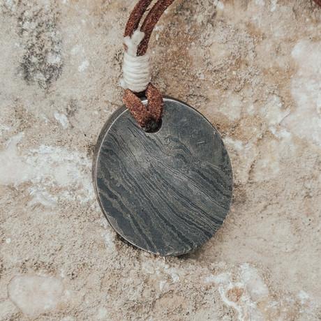 They Eye Of Odin Damascus Pendant // Oval & Flat