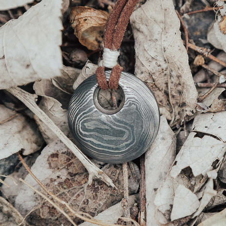 They Eye Of Odin Damascus Pendant // Round & Smooth