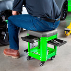 Workshop Creeper Seat with 2 Drawers (Green)
