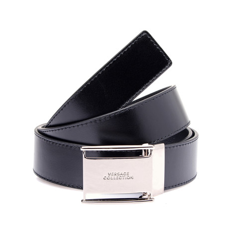 Squared Buckle Leather Belt // Black (Black)