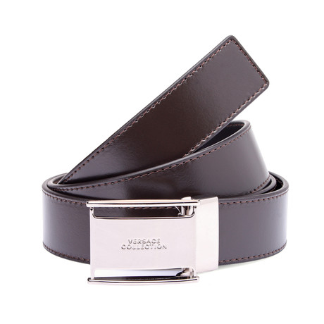 Versace Collection // Squared Buckle Leather Belt // Brown