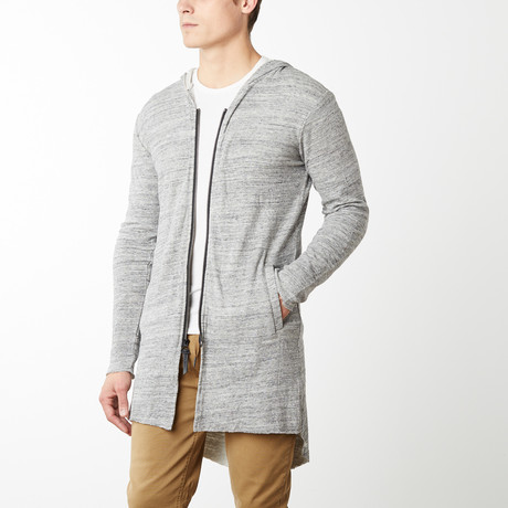 Sander Longline Double Hooded Cardigan // Heather Gray (S)