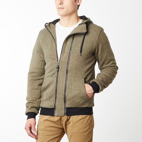 York French Terry Double Zip Hoodie // Olive (S)