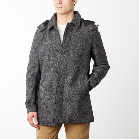 London Yarn Zip Off Hood Overcoat // Heather Charcoal (S)