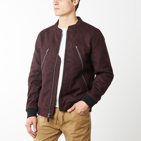 The Hague Zipped Front Bomber // Oxblood Red (S)