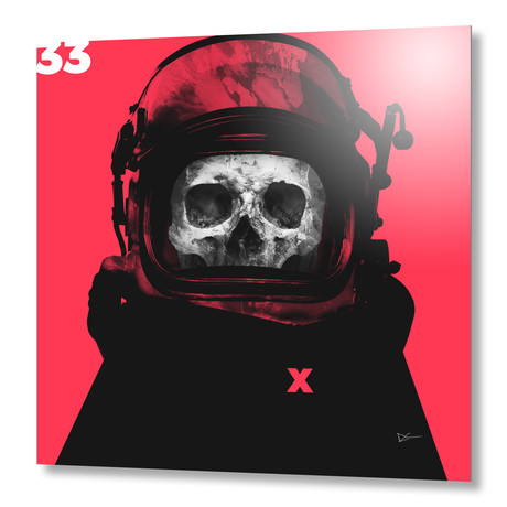 """Space Pirate Red // Aluminum Print (16""""W x 16""""H x 1.5""""D)"""