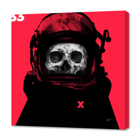 "Space Pirate Red // Stretched Canvas (16""W x 16""H x 1.5""D)"