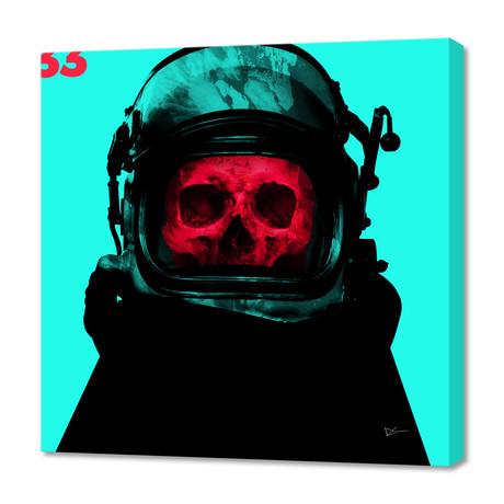 "Space Pirate Cyan // Stretched Canvas (16""W x 16""H x 1.5""D)"