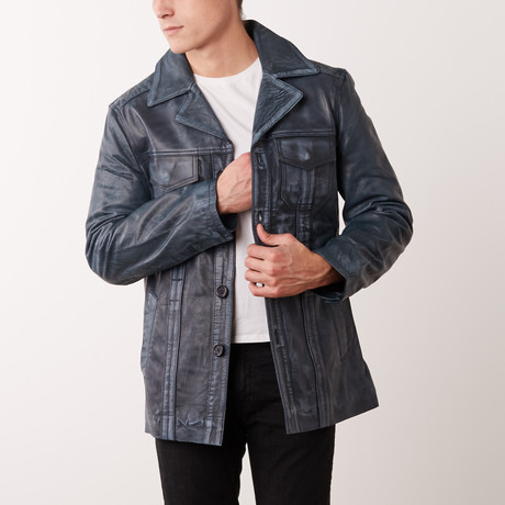 Ezequiel Leather Coat // Bluewash (S)