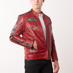 Dino Leather Jacket // Red (S)