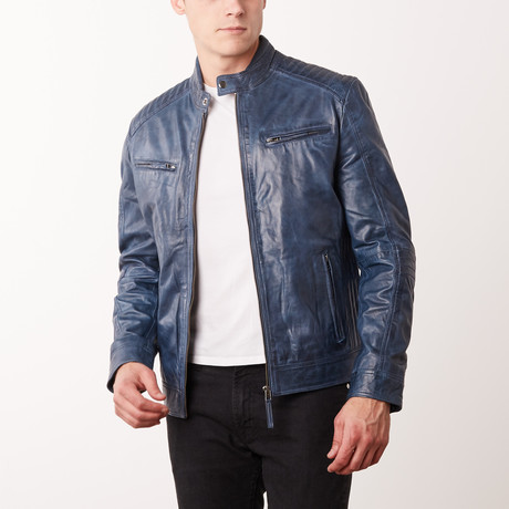 Jerrod Leather Jacket // Navy (S)