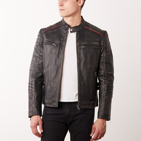 Jarred Leather Jacket // Black Rub-Off (S)