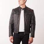 Jarred Leather Jacket // Black Rub-Off (S)