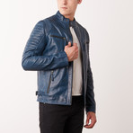 Nathanael Leather Jacket // Navy (S)