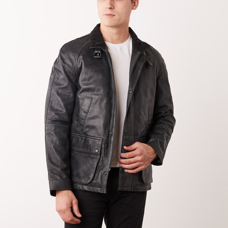 Darwin Leather Jacket // Black Rub-Off (S)