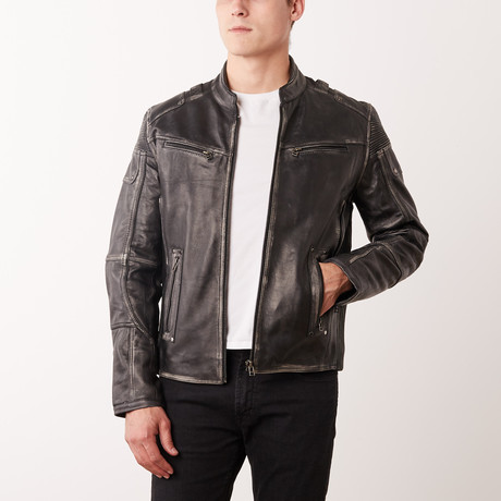 Clark Leather Jacket // Grey Rub-Off (S)