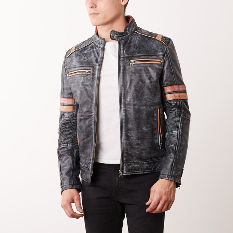 Murray Leather Jacket // Stonewash Black (S)