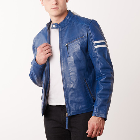 Truman Leather Jacket // Blue (S)
