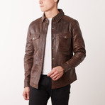 Carlo Leather Jacket // Brown (S)
