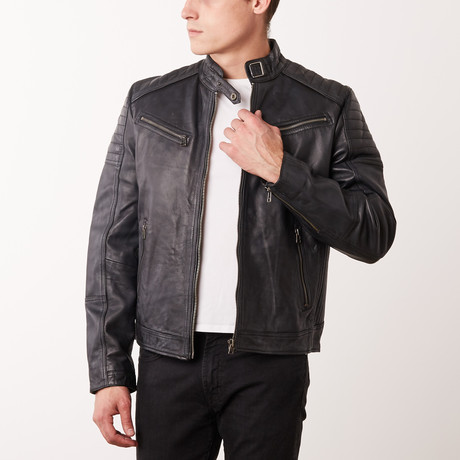 Margarito Leather Jacket // Black Rub-Off (S)