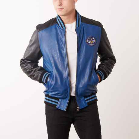 Andre Leather Jacket // Navy + Black (S)