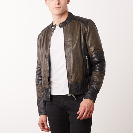 Trinidad Leather Jacket // Olive + Black (S)