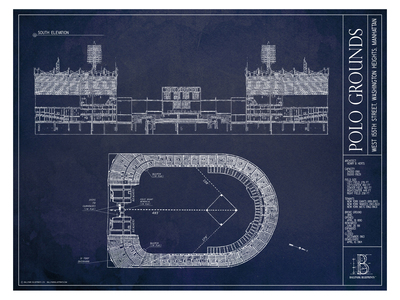 Photo of Ballpark Blueprints Hand-Rendered Stadium Wall Art Polo Grounds by Touch Of Modern