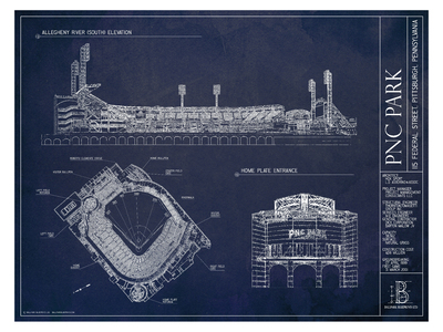 Photo of Ballpark Blueprints Hand-Rendered Stadium Wall Art PNC Park by Touch Of Modern