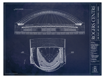 Photo of Ballpark Blueprints Hand-Rendered Stadium Wall Art Rogers Centre by Touch Of Modern