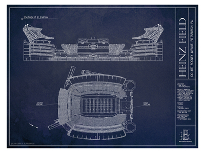 Photo of Ballpark Blueprints Hand-Rendered Stadium Wall Art Heinz Field by Touch Of Modern