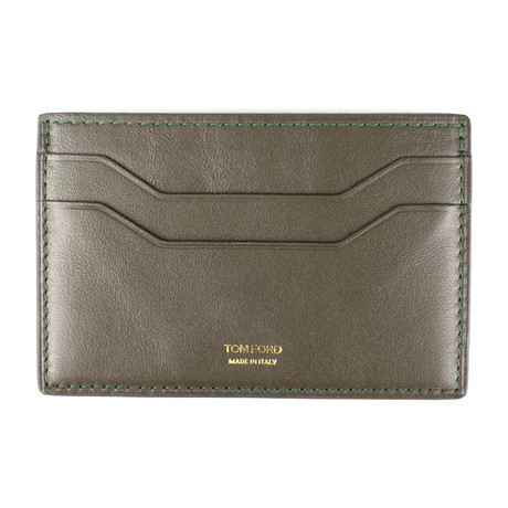 Smooth Leather ID Card Holder Wallet // Dark Moss Green
