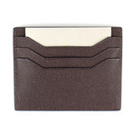 Pebbled Leather Open Side Card Holder Wallet // Dark Brown