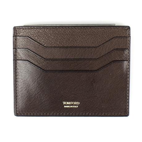 Smooth Leather Open Side Card Holder Wallet // Orange