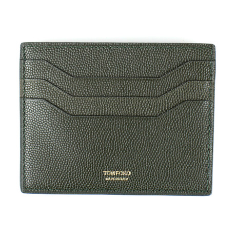 Small Grained Leather Open Side Card Holder Wallet // Green