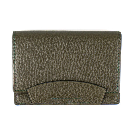 Pebbled Leather Envelope Card Holder Wallet // Moss Green