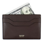 Small Grained Leather Card Holder Wallet // Brown