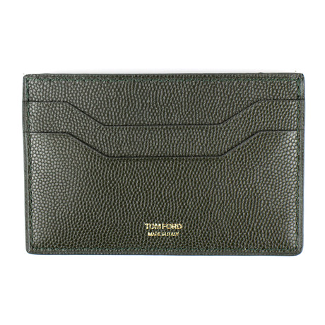 Grained Leather Card Holder Wallet // Dark Green