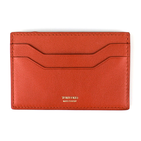 Tom Ford // Small Grained Leather Card Holder Wallet // Burnt Orange