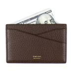 Grained Leather Card Holder Wallet // Brown