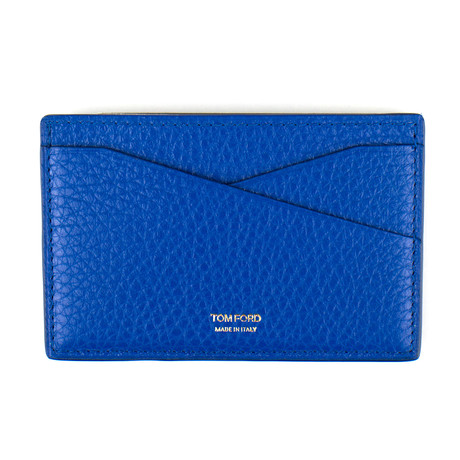 Tom Ford // Grained Leather Card Holder Wallet // Blue